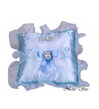 Bebek Takı Yastıgı Kare Mavi