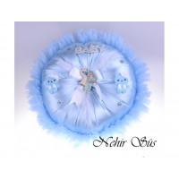 Bebek Takı Yastıgı Mavi Yuvarlak